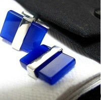 Manual blue Opal/cat-eye style Shirt cuff Cufflinks cuff links blue  drop shipping for men's gift