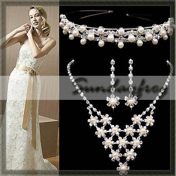 Fast Free Shipping! Gorgeous Clear Crystal Imitation Pearls Wedding Bridal Jewelry Set Including Necklace Earrings Tiara -JV14(China (Mainland))