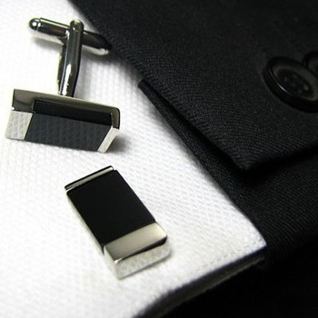 Black Box Style,Agate Inlaid High-Grade Rectangle Cufflinks Men's Shirt Cuff Jewelry