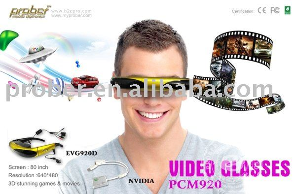 3D video glasses,TV glasses,PC video glasses with 80 inch virtual screen +DHL Free Shipping(China (Mainland))
