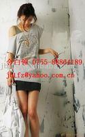 Free shipping, custom women's strapless T SHIRT