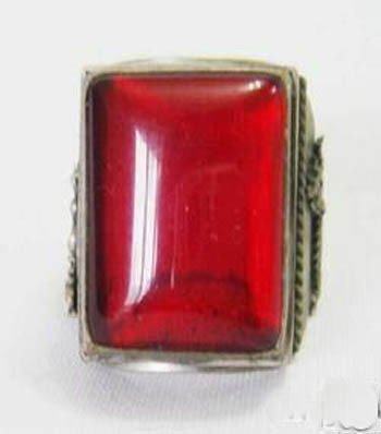 Old Beautiful Tibet Silver Tibet Red Jade Ring Free shipping(China (Mainland))