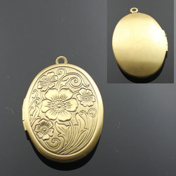 Dropship Pendant DIY Brass Bronze Copper European Antique Style Oval Flower Prayer Box Photo Locket Jewelry 1121005