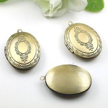 Dropship Pendant DIY Brass Bronze Copper European Antique Style Oval Flower Prayer Box Photo Locket Jewelry 1121022