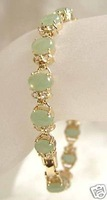 Superb Jewelry Natural Charming Green Jade Woman's 14K GOLD Bandle bracelet shipping free
