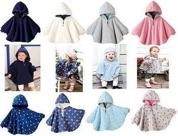 Wholesale - COMBI Baby Coat cape kids cloak overdress Hoodie Sweatshirt Reversible Polar fleece 10/lot