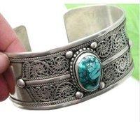 Superb Jewelry genuine Tibet silver Turquoise Men's  Bracelet  Bangle  shipping free