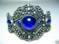 Superb Jewelry genuine Tibet Silver  Blue Jade Cuff  Bracelet  Bangle  shipping free