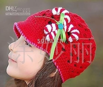 Baby Toddler Girl Crochet Beanie Hat Sz 6M-7T Red Color with Red and White Bow 30pcs