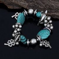 Wholesale NEW ARRIVAL  low price VERY STUNNING BRAND NEW TIBETAN SILVER TURQUOISE bracelet.TB-009