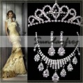 Fast Free Shipping! Gorgeous Alloy with Rhinestones and Crystal Wedding Bridal Jewelry Set Necklace Earrings Tiara -JV33