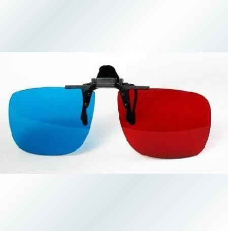 new arrival 3D blue and red clip-on glasses lens for nearsighted people for 3D movie 3D TV, freeshipping(China (Mainland))