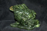 Natural Jade Money Toad Frog w/Coin Feng Shui Luck Prosperity+Free Shipping