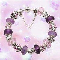 Superb Jewelry genuine Beautiful 925 Sterling Silver Purple jade Charm bracelet  Bangle  shipping free