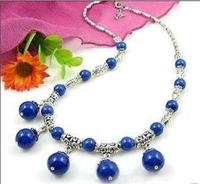 Wonderful beautiful  round blue lapis lazuli PENDANTS necklace Fashion Free shipping