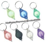 Wholesales!100pcs/lot freeshipping 1led high power plastic mini keychain light PK LED flashlight !