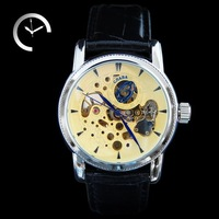 Fast Shipping Fashion Luxury Hand Wind Mechanical Men Wrist Watch Water Resistant Leather Band Hollow Dial Glod