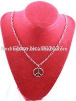 FREE SHIPPING 3 Pcs Tibetan Silver Peace Logo Pendant Necklaces #20010