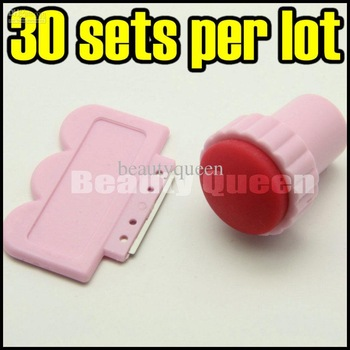 30 Sets Lot Nail Art Stamping Tool Stamper & Scraper Konad DIY Stamp Design + Free Ship
