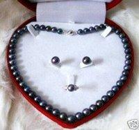 TAHITIAN  Black Pearl Necklace earring ring Fashion AKOYA Free shipping