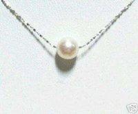 LFX Delicate single white pearl 925 silver-line Necklace Fashion AKOYA Free shipping