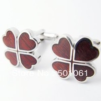 Free Shipping (OEM supplied) Wholesale & Retail Fashion Wood Lucky Clover Stainless Steel Cufflinks RIMG4790
