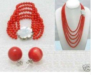 Charming Beautiful 6mm Red Coral Beads Necklace Bracelet Earring Fashion Free shipping(China (Mainland))