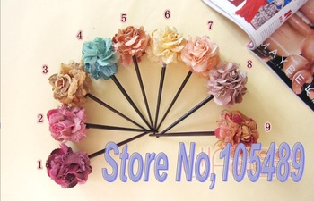 EXCELLENT Flower Hair Clasp Cloth & Wooden Flower Hair Sticks Bridal Rose Hair Accessories E0128