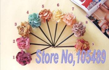 EXCELLENT Flower Hair Clasp Cloth & Wooden Flower Hair Sticks Bridal Rose Hair Accessories E0128