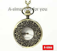Minimum order 30$ : Vintage Large size five leaves flower pocket watch / jewelry gift accessories C11-20