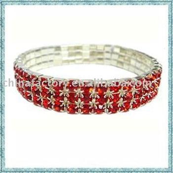 3 lines metal  crystal elastic bracelet