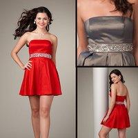 Fashion Free shipping Elegant EV1016 sleeveless short top taffeta beaded party dress