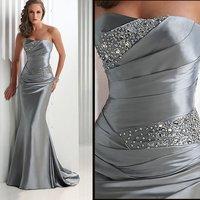 2011 popular free shipping 100% Guaranteed EV1017 sleeveless Floor-length elastic satin beaded party dress