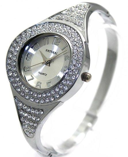 Free Shipping!!!Elegant Free Shipping Fashion Shiny Chrome plating Ladies Crystal Bangle Cuff Watch (FW684C)(China (Mainland))