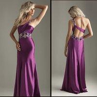 Elegant beautiful one shoulder EV1026 Top Elastic Satin fashion Party Dress