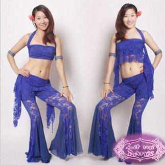 Rendas de alta qualidade elástica barriga tecido de roupas de dança de três peças de roupas terno Sexy Moda T06 2 maneiras que desgastam o vestido multi-color(China (Mainland))