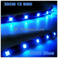 Free shipping + wholesale + best offer + 10pcs/lot + 5050 Car led strip flexible led strip smd led strip 30cm 12 SMD Blue