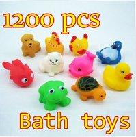 Wholesale 1200pcs/lot New Baby Bath Toy Rubber Funny Squeak Animals Multi-Styles 4-7CM