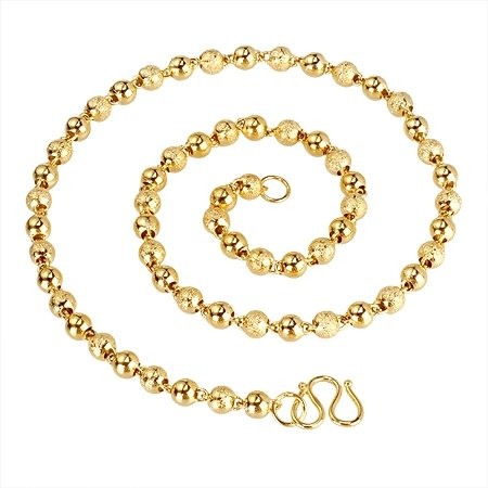 popular copper round ball gold necklace jewelry(6.0mm)(China (Mainland))