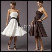 Free shipping Cheaper V1046 Knee-lenght sleeveless chiffon bealt Prom Dress/Evening Dress/Party Dress