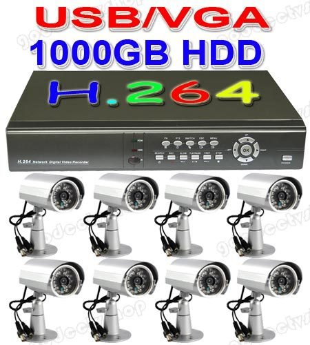 8 channel CCD CCTV cameras H.264 Net DVR Home security(China (Mainland))