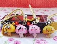Free Shipping/Cute cartoon little mushroom lovers mobile phone chain/MP3/MP4 Straps/sweet keychain/bag Pendant/Wholesale