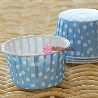 Free shipping 4500pcs Round MUFFIN CAKE WHITE DOT CUPCAKE Paper CASES Blue