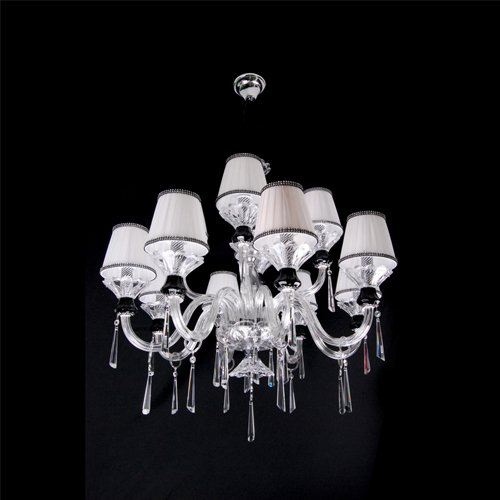 Factroy direct selling free shipping 14 light Crystal Chandelier D700mm*H700mm with Whte Cloth Shade(China (Mainland))