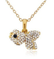 free shipping wholesale 2011 fashion popular jewelry  pink rhinestone gold necklace