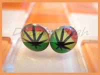 New Arrival marijuana leaf  Earring Ear stud Free shipping Ear piercing 316L Stainless steel Earring 8mm Accept Customized