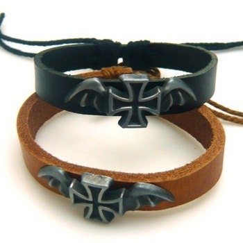 The vampire wings CROSS genuine leather cowhide bracelet alloy ornaments Wholesale price only