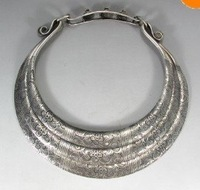 "11""Miao Folk Silver 5 Loops Dragons Necklace chaplet  Fashion  Free shipping e-0"