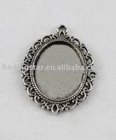 FREE SHIPPING 50pcs Tibetan sivler glue on bail picture frame Cabochon Settings Pendant Trays oval charm  A11665