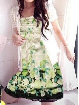 new arrival fashion wear/chiffon/strapless/spaghetti strap floral print dress+wholesale/dropship